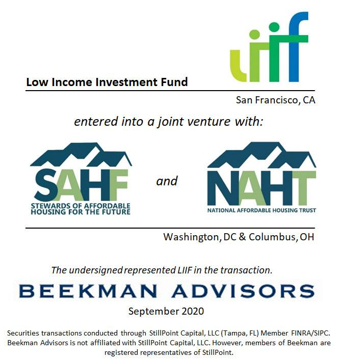 Low Income Investment Fund, SAHF & NAHT