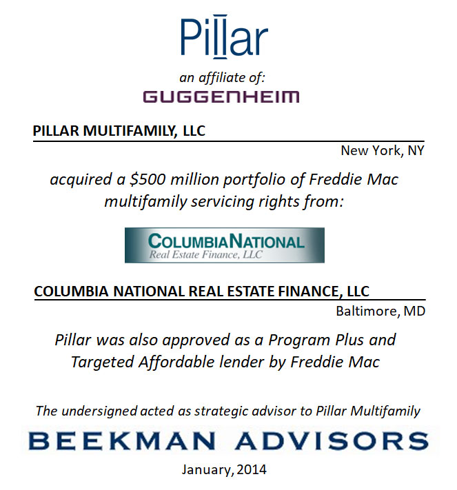Pillar Multifamily, LLC and Columbia National Real Estate Finance, LLC