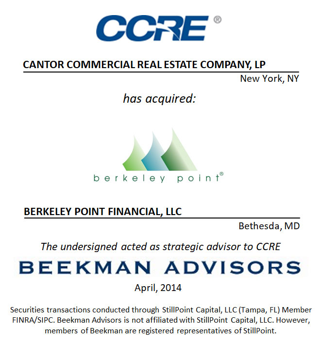 Cantor Commercial Real Estate Company, LP and Berkley Point Financial, LLC