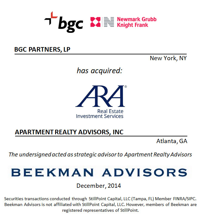 BGC Partners, LP and Apartment Realty Advisors, Inc