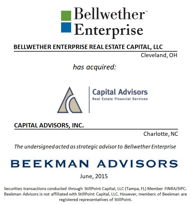 Bellwether Enterprise Real Estate Capital, LLC and Capital Advisors, Inc.