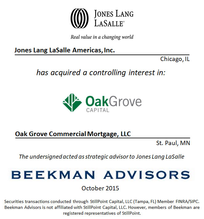 Jones Lang LaSalle Americas, Inc. and Oak Grove Commercial Mortgage, LLC