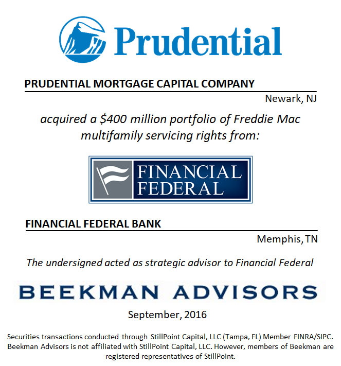 Prudential Mortgage Capital Company and Financial Federal Bank