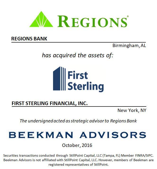 Regions Bank and First Sterling Financial, LLC